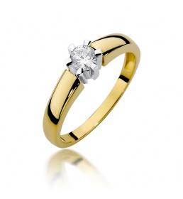 Złoty pierścionek z brylantem 0,23ct (W-405)