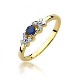 Złoty pierścionek z szafirem i brylantami 0,15ct (W-414)