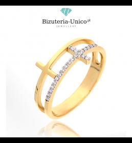 Złoty pierścionek z krzyżami (P-1940)