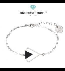 Srebrna bransoletka - diament z onyksem