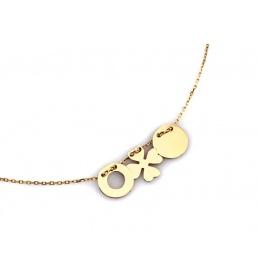 Złoty naszyjnik - celebrytka z trzema zawieszkami na szczęscie pr. 333
