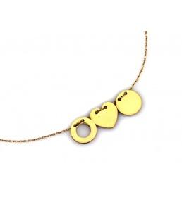 Złoty naszyjnik - celebrytka z trzema zawieszkami NA 1703A