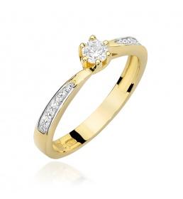 Złoty pierścionek z brylantami 0,20ct (W-453)
