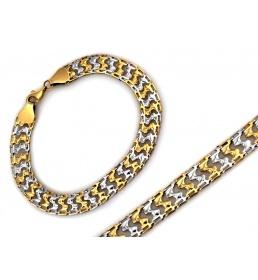 Białe i żółte złoto bransoletka elementowa 3579