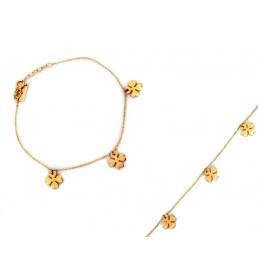 Złota bransoletka celebrytka trzy koniczynki 4718