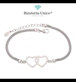 Srebrna bransoletka - połączone serca