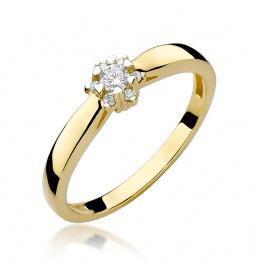Złoty pierścionek z brylantami 0,15ct (W-61)