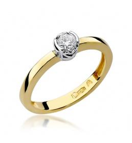 Złoty pierścionek z brylantem 0,25ct (W-131)