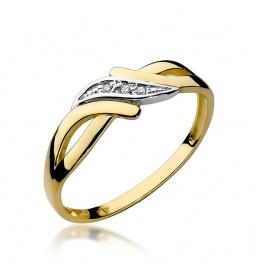 Złoty pierścionek z brylantami 0,02ct  (W-192)
