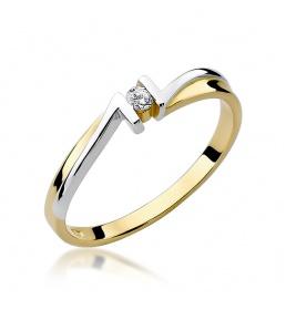 Złoty pierścionek z brylantem 0,04ct (W-204)