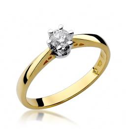 Złoty pierścionek z brylantem 0,25ct (W-234)