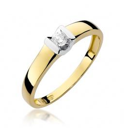 Złoty pierścionek z brylantem 0,10ct (W-249)
