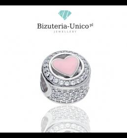 Srebrny koralik modułowy różowe serce