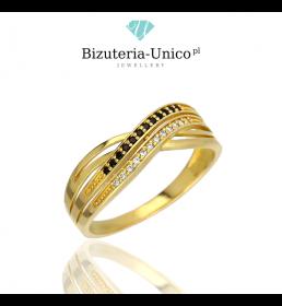 Złoty pierścionek biało czarny