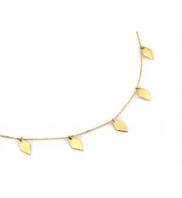 Złoty naszyjnik z wiszącymi rombami