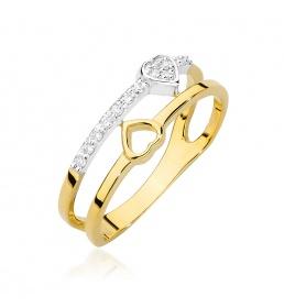 Złoty pierścionek z brylantami 0,10ct  (BC-17)