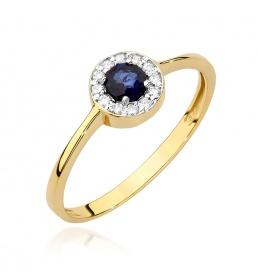 Złoty pierścionek z szafirem i brylantami 0,30ct (BC-16)