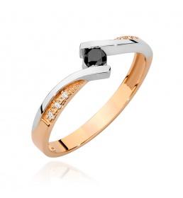 Złoty pierścionek z brylantami 0,15ct  (BC-08)