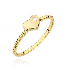 Złoty pierścionek z brylantem 0,03ct  (BC-10)