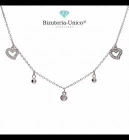 Naszyjnik srebrny celebrytka serca