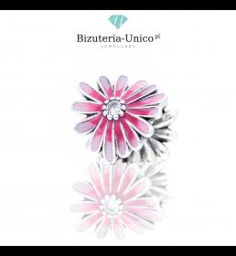 Srebrny koralik modułowy różowy Kwiat
