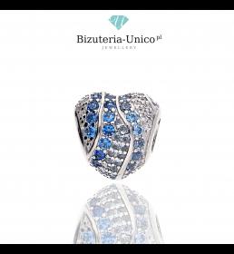 Srebrny koralik modułowy niebieskie serce