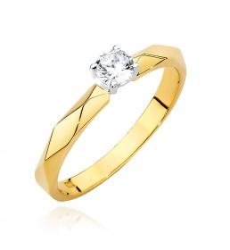 Złoty pierścionek z brylantem 0,15ct (W-484)