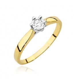 Złoty pierścionek z brylantem 0,08ct  (W-222BT)