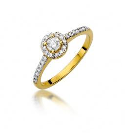 Złoty pierścionek z brylantem 0,28ct  (W-406)