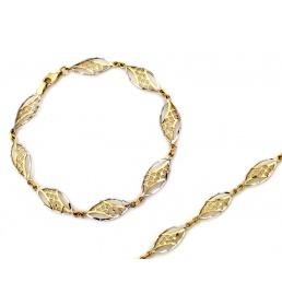 Złota bransoletka ażurowa dwukolorowa
