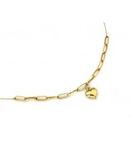 Naszyjnik złoty duże ogniwa i serce