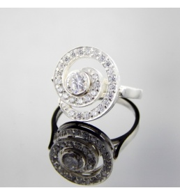 Srebrny pierścionek z cyrkoniami (N-220)